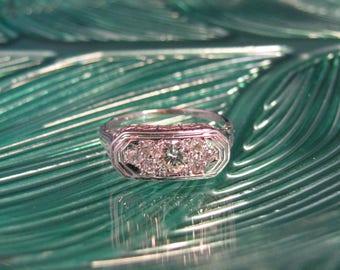 Vintage Estate White Gold Old European Filigree Diamond Ring