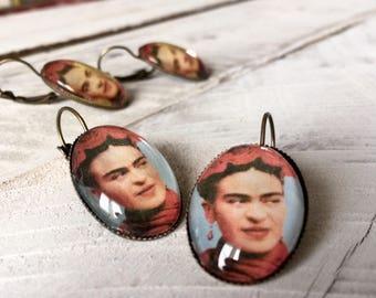 Frida Kahlo Jewelry Earrings Frida Kahlo Dangle Earrings  Gift for Art Teacher Frida Kahlo Jewelry Valentine's Day Gift for Frida Fan