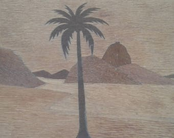 Vintage Wooden Tray Server Inlay Desert Scene With Palm Tree & Water (Dead Sea?) Made in Israel