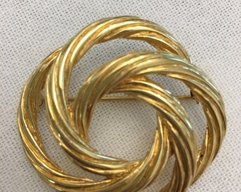 Vintage Gold Monet Twisted Knot Brooch