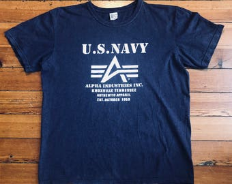 T-shirt US NAVY / alpha industries inc usa vintage / xl / made in usa