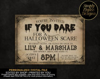 If You Dare Halloween Party Invitation