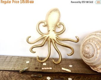 ON SALE Gold Octopus Hook - Jewelry Hanger - Gold Wall Decor - Necklace Holder - Bathroom Wall Art - Gold Decor - Octopus Wall Art - Key Hol