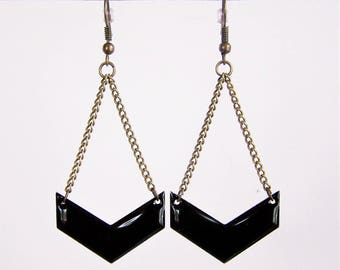 Black enameled chevron earrings