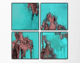 Print, contemporary art,  home decor, wall art abstract, digital image, turquoise and coral abstract, 12x12, set of 4, marsala, aqua, violet