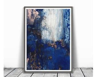 Printable Art,  Art Poster, Digital Download, Wall  art indigo and white, modern abstract, scandinavian design, blue abstract art