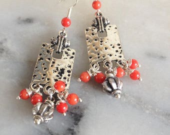 Bohemian earrings, orange red coral beads, silver pendant