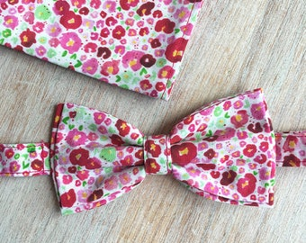 Bow tie + Pocket - Pink Flowers