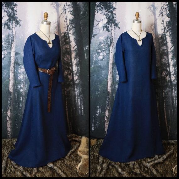 New! Linen Viking Dress Wide Side Panels, Garb, Serk Norse, SCA LARP Comic Con Knotwork Trim Celtic Slavic Renaissance, Reenactment Midgaarb