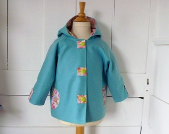 Coat jacket girl 3 years old turquoise flannel
