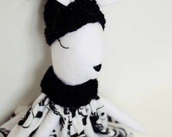 Bunny, Tilda bunny, Handmade doll, Folk flowers ,Winter collection, Woodland doll, Tilda doll, Rag doll, Black&White , Easter idea , Crochet