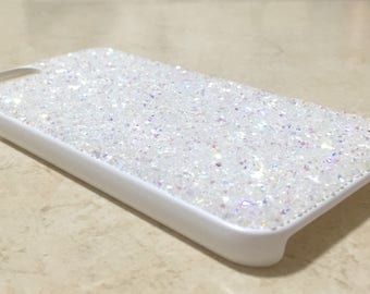 Clear AB White Color Rock Crystallized Bling iPhone 6/6S Case, Swarovski & Czech Crystals Handmade Rhinestones Jewelled Gem Cover