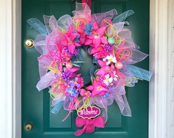 Ready to ship, large Spring / Easter floral wreath