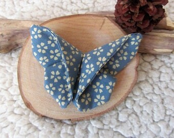 PIN, brooch fabric origami Butterfly in blue fabric with beige flower pattern