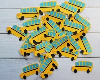 School Bus Die Cuts, Embellishments, Punchies, Punches, Party Favors, Toppers