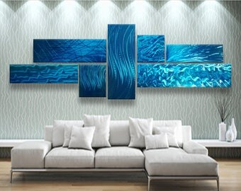 Metal Wall Art, Blue Abstract Metal Wall Sculpture, Modern Metal Wall Art, Teal Wall Sculpture, Multipanel Wall Sculpture, Modern Wall Decor