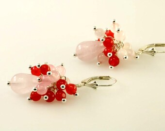 Rose Quartz Cluster Drop Sterling Silver Earrings, Rose Quartz Drop Earring, Gemstone Cluster Drop Earrings
