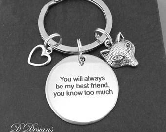 Friendship Key Chain, Silver Key Chain, Fox Key Ring, Friendship Keyring, You will always be my Friend, you know too much Keychain