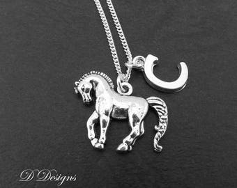 Horse Necklace, Horse Pendant, Pony Necklace, Personalised Horse Jewellery, Personalised Letter Necklace, Horse Gifts,