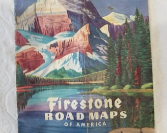 Vintage firestone road map.  Rand McNally. Globe box map. 47 pages. 10 1/2 of 8