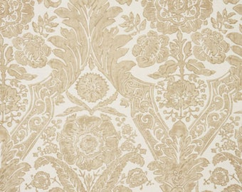 SCALAMANDRE LUCIANA DAMASK Print Linen Fabric 10 Yards Sand