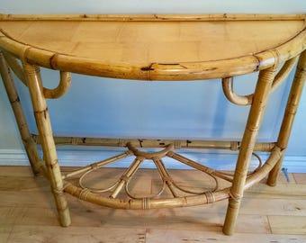 Vintage Rattan Hall Table