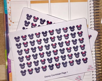 Disney Vacation Countdown Planner Stickers for use with Erin Condren Life Planner and other planners