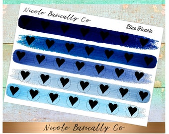 Heart Icons in Blue Paint Strokes Planner Stickers