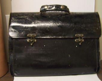 Vintage Black Leather Satchel, Briefcase,tool Bag