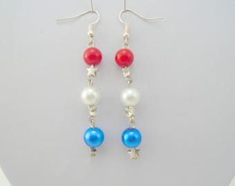 4th July Earrings, Red White Blue, Patriotic Jewelry,  Fourth of July Jewelry, Independence day earrings, patriotic earrings, long earrings
