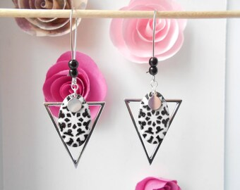 Silver sequin black and white enamel triangle earrings