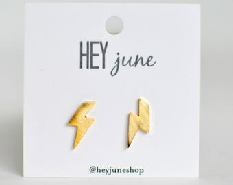 lightning earrings, lightning bolt stud earrings, lightning studs, gold lightning studs, gold lightning earrings,