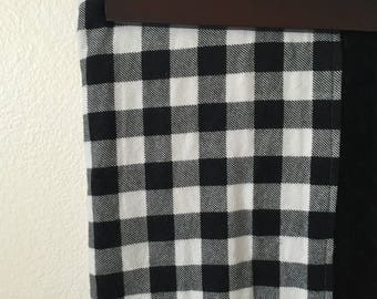 Black and white buffalo plaid minky lined crib blanket