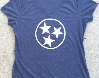 Tennessee tri star women's v neck, tri blend, navy, medium,**free shipping**