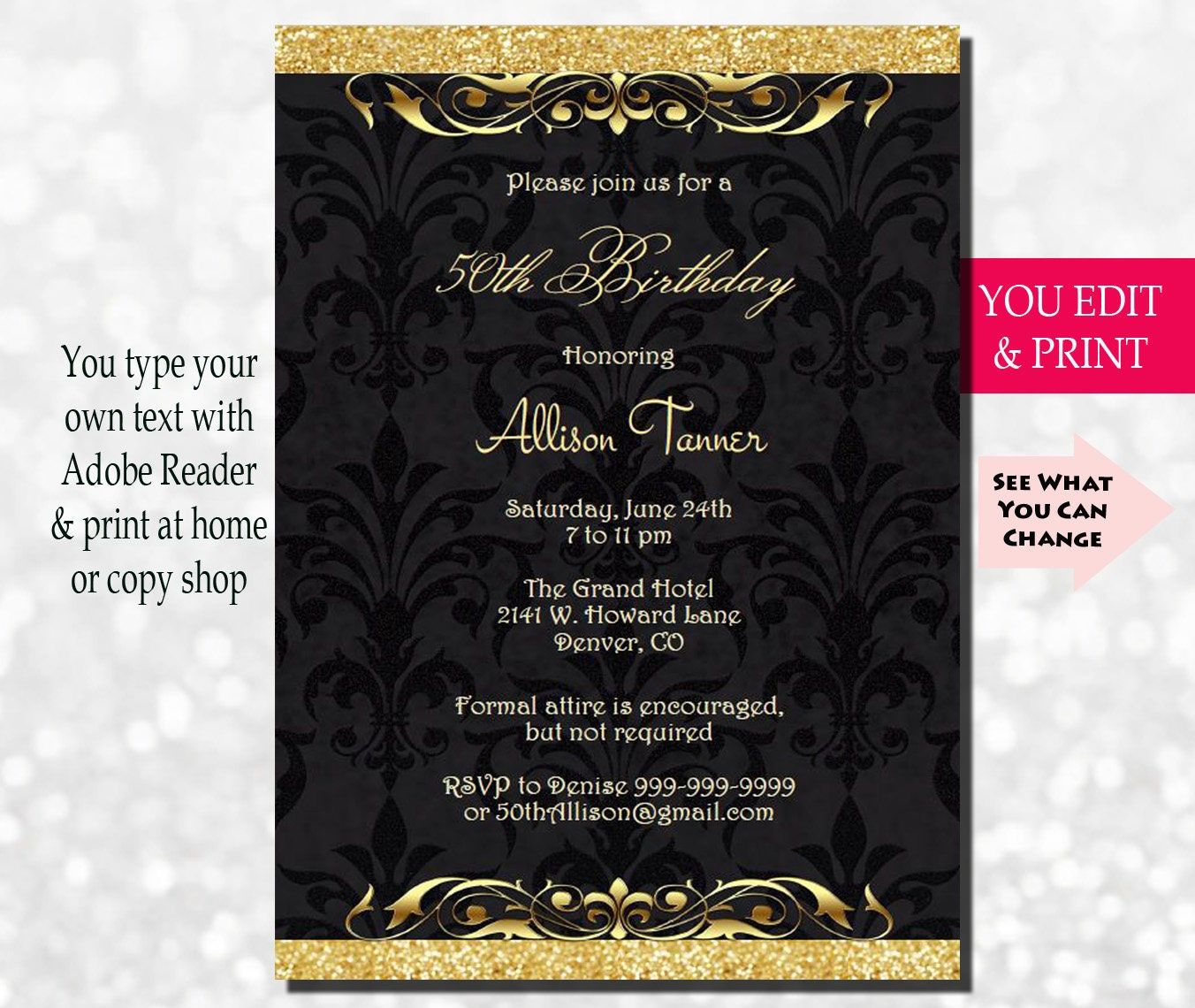 50th Birthday Invitation 50th Birthday Party Invitation 50th – 50th Birthday Party Invite