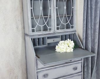 Antique Drop Front Secretary Desk with Hutch China Cabinet Secretary Cabinet Hand Painted and Distressed in Layers of Light Gray