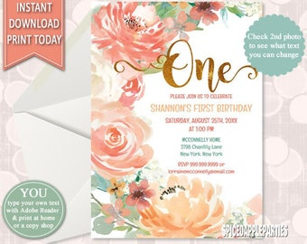 First Birthday Watercolor Floral Invitation, 1st Birthday Watercolor Flowers Invitation,Flower Birthday, Girls Birthday,INSTANT DOWNLOAD
