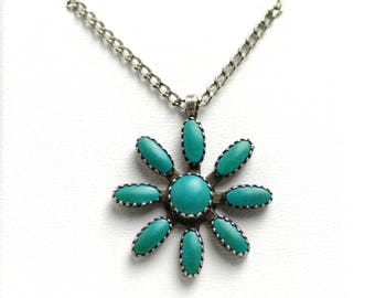 "Vintage 1960s Turquoise and Sterling Silver Petit Point Flower Native American Southwestern Pendant 23"" Necklace"