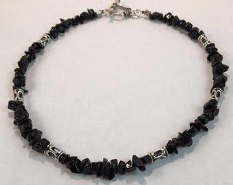 Handmade Men's Genuine Black Obsidian Necklace, Men's Obsidian Choker, Men's Obsidian Jewelry, Genuine Obsidian Necklace, Black Stone