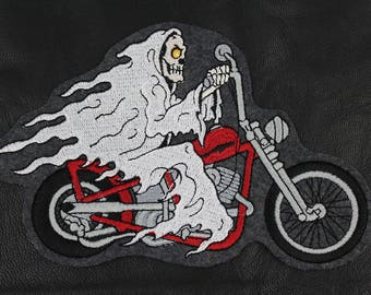 Biker patch ~ Ghost Rider ~ Motorcycle Patch ~ Embroidered Iron on Patch