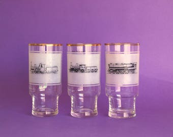 Crown Corning Collectable Steam Engine Locomotive Glasses - Vintage Retro Trains Glassware Tumblers Made In Australia