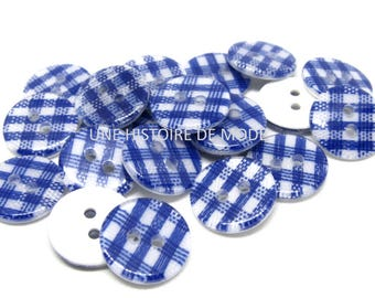 20 buttons blue and white gingham buttons 13 mm - sewing - sewing - sewing notions - button