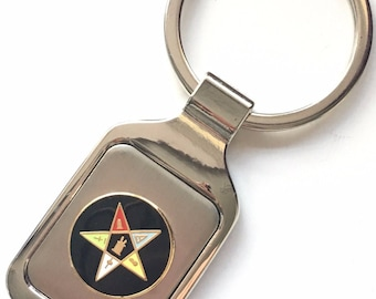Personalised Engraved Masonic Eastern Star Crest Emblem Key Ring + Pouch (K003)