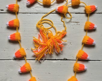 Candy Corn Hand Knitted Garland - Bunting - Thanks Giving - Halloween Decoration