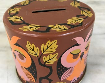 """vintage metal owl bank, retro piggy bank, 3"""" round, painted groovy colors,"""