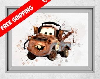 Disney Cars Poster, Tow Mater Print, Disney Cars Print,  Free Shipping, Kids Room Decor, Watercolour Print, Mater Nursery, Cars Decorations