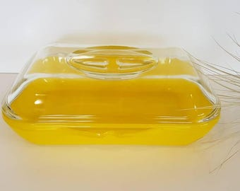 Phoenix Opalware Casserole Dish with Stand. Bright Canary Yellow . Vintage Pyrex, Collectable Pyrex, 1960's. New Zealand.