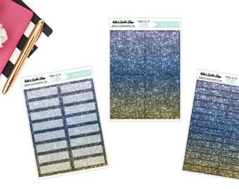 Blue #1 Beach Printed Glitter Planner Stickers