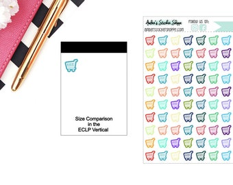 Multicolored or Black Mini Grocery Cart Icon Planner Stickers