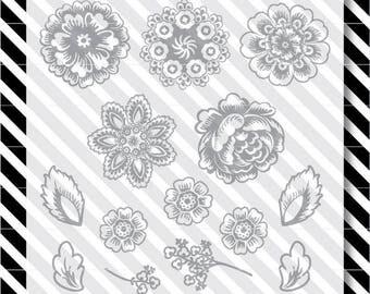 floral svg cut file - flowers art design pack - svg floral design- dxf file - svg flowers cut file - floral svg - floral cut file dxf floral